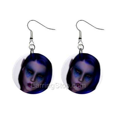 Blue Butterfly Eyes Dangle Earrings Jewelry 1 inch Buttons 12479714