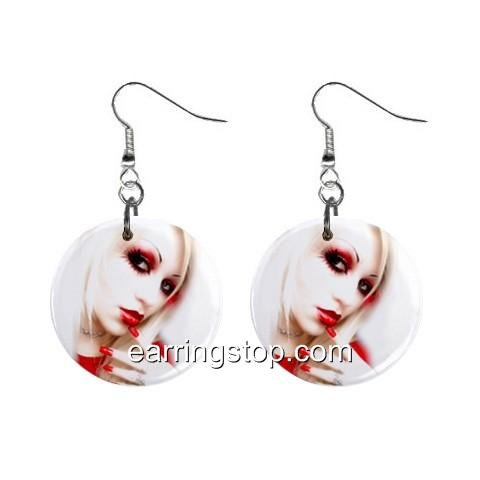 Goth #1 Blond Hair Face Dangle Earrings Jewelry 1 inch Buttons 12310664