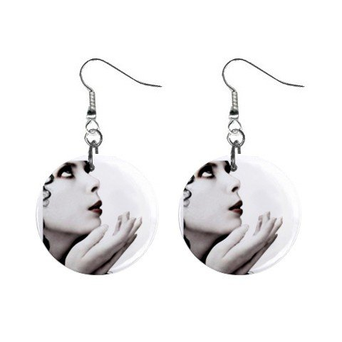 Goth #2 Peaceful Lady  Dangle Earrings Jewelry 1 inch Buttons 12310665