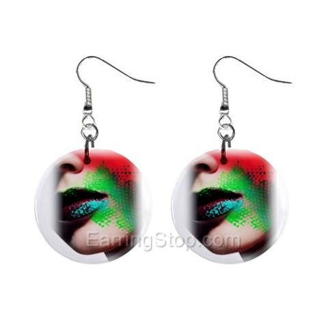Colorful Face  Dangle Earrings Jewelry 1 inch Buttons 12479631