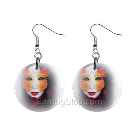 Butterfly Face Dangle Earrings Jewelry 1 inch Buttons 12479705