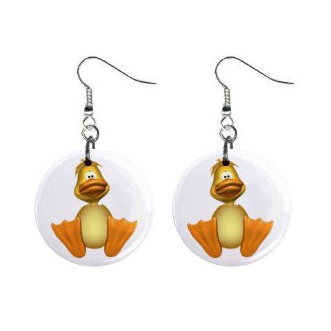 Silly Duck  Dangle Earrings Jewelry 1 inch Buttons 12310647