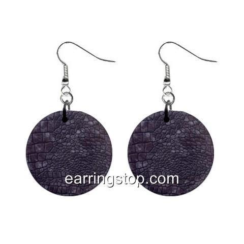 Crocodile Skin Dangle Earrings Jewelry 1 inch Buttons 12345301