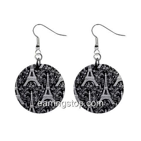 Eiffel Tower Paris Dangle Earrings Jewelry 1 inch Buttons 12345303