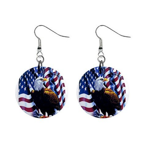 American Flag with Eagle Dangle Earrings Jewelry 1 inch Buttons 12310648