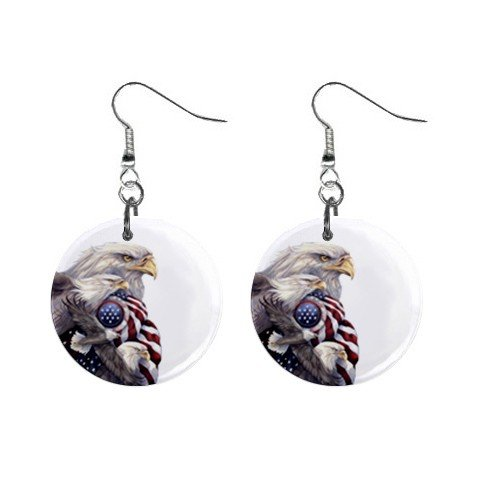 Eagle with American Flag  Dangle Earrings Jewelry 1 inch Buttons 12310669