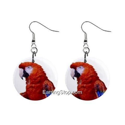 Scarlet Macaw Dangle Earrings Jewelry 1 inch Buttons 12409528