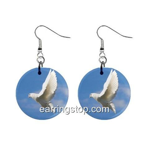 Flying White Dove Dangle Earrings Jewelry 1 inch Buttons 12345402