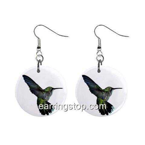 Hummingbird Dangle Earrings Jewelry 1 inch Buttons 12345307