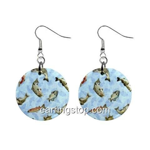 Fish  Dangle Earrings Jewelry 1 inch Buttons 12398786