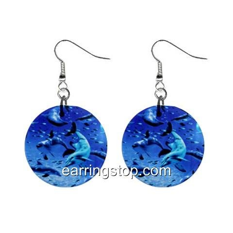 Dolphins Dangle Earrings Jewelry 1 inch Buttons 12398785