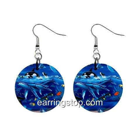 Ocean Animals Dangle Earrings Jewelry 1 inch Buttons 12345310