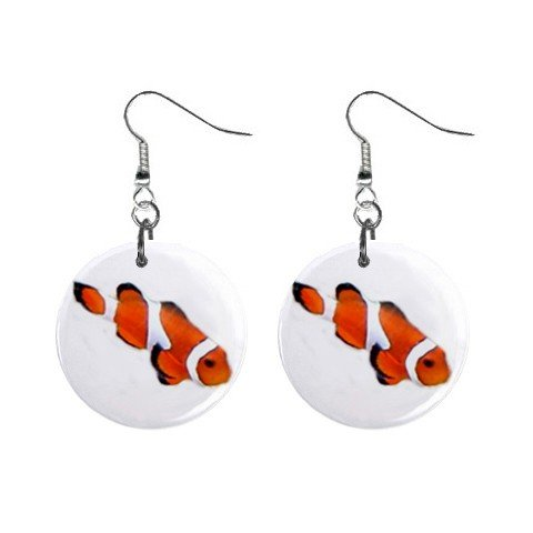 Fish #2  Dangle Earrings Jewelry 1 inch Buttons 12479751