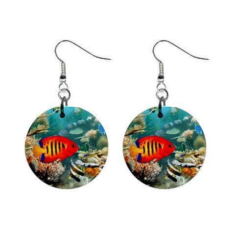 Topical Fish Dangle Earrings Jewelry 1 inch Buttons 12479797