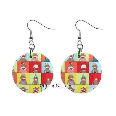 Sock Monkey #1  Dangle Earrings Jewelry 1 inch Buttons 12418575