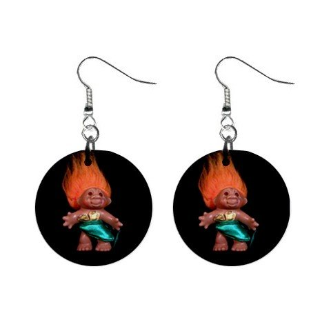 Orange Hair Troll #1 Dangle Earrings Jewelry 1 inch Buttons 12479792