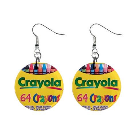 Crayola Crayons #3 Dangle Earrings Jewelry 1 inch Buttons 12479732