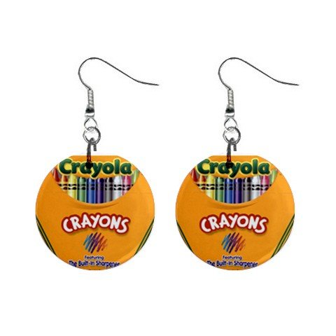 Crayola Crayons #1 Dangle Earrings Jewelry 1 inch Buttons 12479725