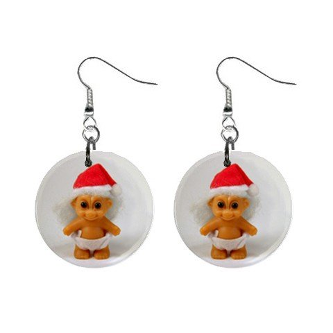 Christmas Troll #4 Dangle Earrings Jewelry 1 inch Buttons 12479796