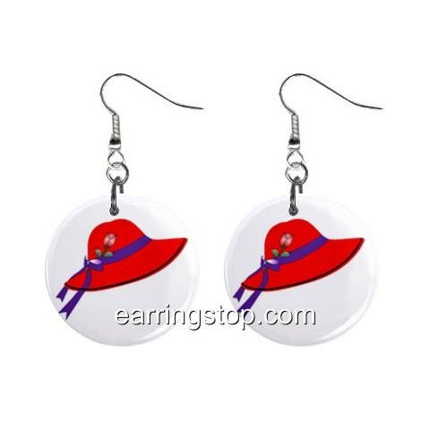 Red Hat Dangle Earrings Jewelry 1 inch Buttons 12398820