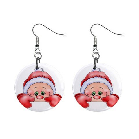 Christmas Elf #2 Dangle Earrings Jewelry 1 inch Buttons 12310650
