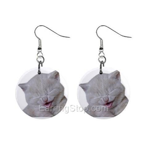 Laughing Cat  Dangle Earrings Jewelry 1 inch Buttons 12479616
