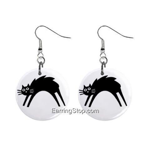 Black Cat #1  Dangle Earrings Jewelry 1 inch Buttons 12418555