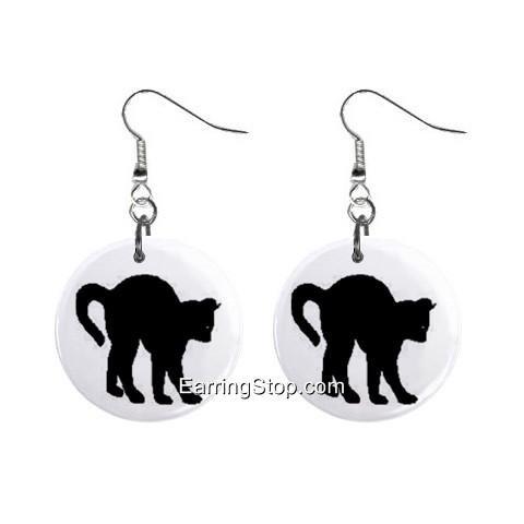 Black Cat #2 Dangle Earrings Jewelry 1 inch Buttons 12418556