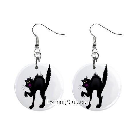 Black Cat #3 Dangle Earrings Jewelry 1 inch Buttons 12418557