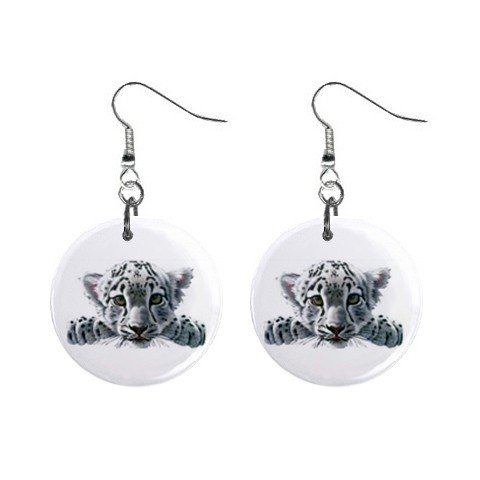 White Tiger Cub Dangle Earrings Jewelry 1 inch Buttons 12628415