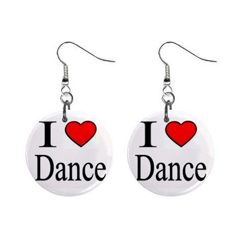 I Love Dance  Dangle Earrings Jewelry 1 inch Buttons 12628336
