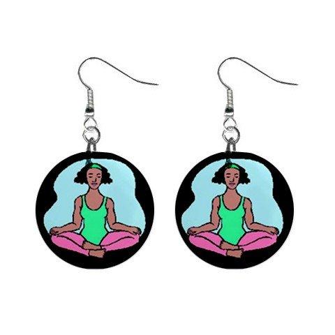Yoga Lady #1 Dangle Earrings Jewelry 1 inch Buttons 12619858