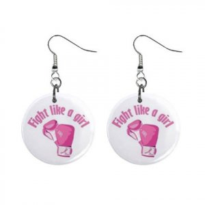 Fight Like a Girl Breast Cancer Dangle Earrings Jewelry 1 inch Buttons 12627357