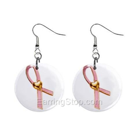 Pink Breast Cancer Awareness Ribbon #7 Dangle Earrings Jewelry 1 inch Buttons 12662449