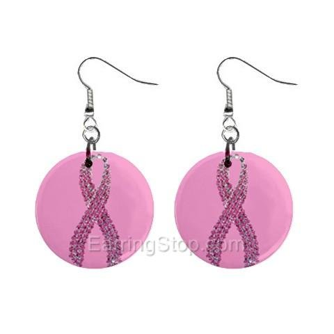 Pink Breast Cancer Awareness Ribbon #3 Dangle Earrings Jewelry 1 inch Buttons 12662718