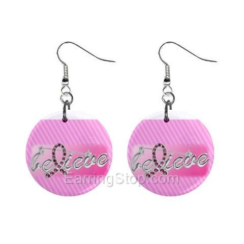 Pink Breast Cancer Awareness Ribbon #5 Dangle Earrings Jewelry 1 inch Buttons 12662726