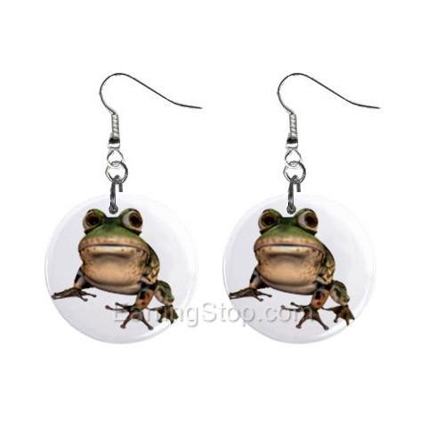 Frog Dangle Earrings Jewelry 1 inch Buttons 12479626