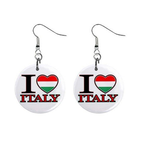 I Love Italy  Dangle Earrings Jewelry 1 inch Buttons 12628387