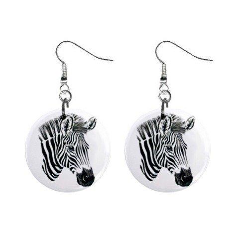 Zebras Zebra  Dangle Button Earrings Jewelry 1 inch Round 12894084