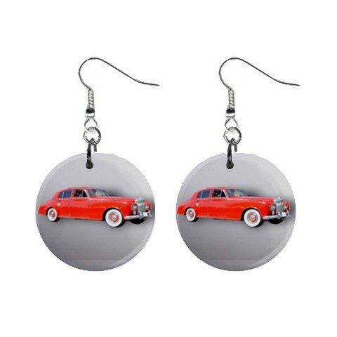 Red Rolls Royce Dangle Button Earrings Jewelry 1 inch Round 12781856