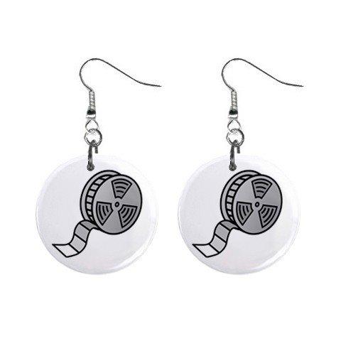 Film Reel Dangle Button Earrings Jewelry 1 inch Round 12779151