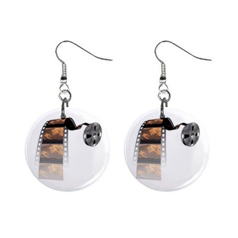 Film Reel #3 Dangle Button Earrings Jewelry 1 inch Round 12779152