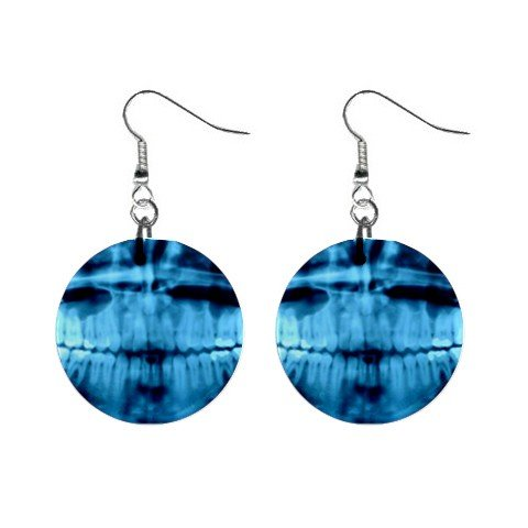 Dental X-Ray Dangle Button Earrings Jewelry 1 inch Round 12779145