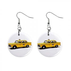 Taxi Cab Dangle Button Earrings Jewelry 1 inch Round 12781938