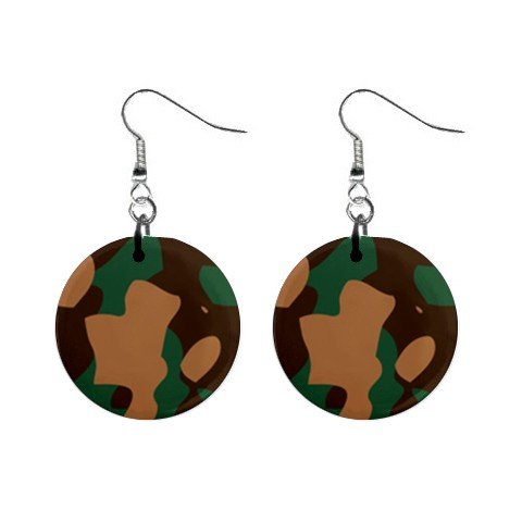 Green Camouflage  Dangle Button Earrings Jewelry 1 inch Round 12691806