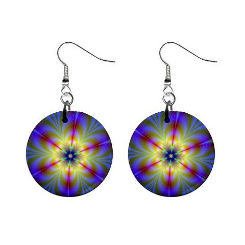 Flower Power Dangle Button Earrings Jewelry 1 inch Round 12693694