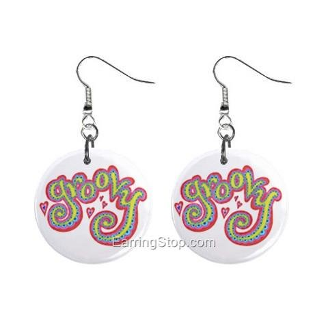 Groovy Dangle Button Earrings Jewelry 1 inch Round 12734842