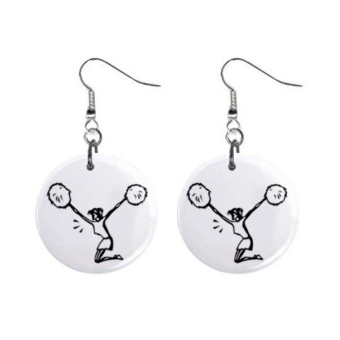 Cheerleader Pom Pom Girl Dangle Button Earrings Jewelry 1 inch Round 12779138