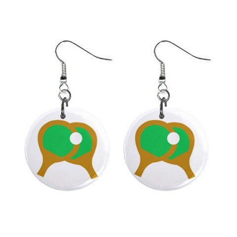 Ping Pong Dangle Button Earrings Jewelry 1 inch Round 12781844