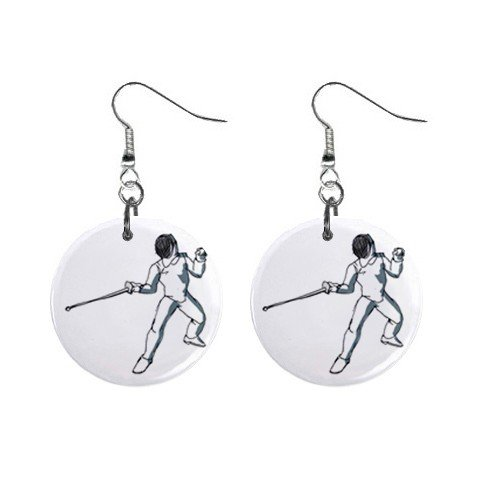 Fencing #2 Dangle Button Earrings Jewelry 1 inch Round 12779149